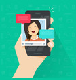 online video call on smartphone flat vector image vector image