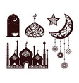 oriental ornaments on different black silhouettes vector image