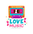 original logo with bright-colored cassette and vector image vector image