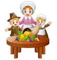 pilgrim family with cornuco vector image vector image