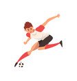 professional soccer player running and kicking vector image vector image