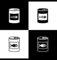 set canned food for cat icons isolated on black vector image vector image