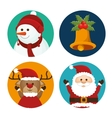 Set christmas santa deer snowman and bell