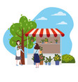 street flowers floral market talls canopy seller vector image