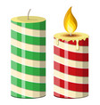 striped christmas candle vector image vector image