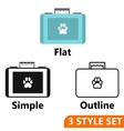 Suitcase for animals icons set vector image vector image