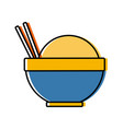 traditional bowl of rice with chopsticks icon vector image vector image