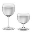 two stages of filling up wineglasses with water vector image vector image