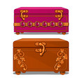 pink and brown suitcase with floral pattern vector image