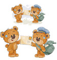 a brown teddy bear postman vector image vector image
