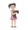 a cute girl embracing her pet vector image vector image