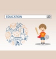 a little boy with shield sword and education vector image vector image