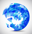 Abstract futuristic blue sphere made of triangles vector image vector image