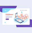 biometric identification landing page vector image vector image