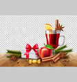 christmas poster mulled wine present box vector image vector image