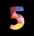 colorful number 5 isolated on black background vector image