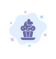 cupcake cake love blue icon on abstract cloud vector image