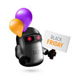 cute black flying robot with pink and orange vector image vector image