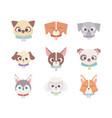 cute heads breeds domestic cartoon animal set vector image