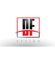 df d f logo letters with red and black colors and vector image