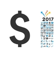 Dollar Symbol Icon With 2017 Year Bonus Symbols vector image vector image