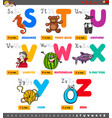 educational cartoon alphabet letters set from s vector image vector image