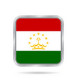 flag of tajikistan metallic gray square button vector image vector image