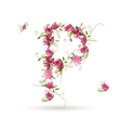 Floral letter P for your design vector image vector image