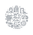 food delivery circle poster with line icons vector image vector image