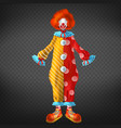 funny clown costume with red wig vector image