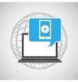 globe computer mobile gear communication vector image vector image