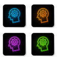 glowing neon human head with gear inside icon vector image vector image