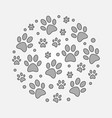 gray dog footprints round vector image vector image