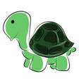 green small turtle on white background vector image vector image