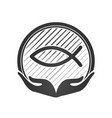 hand and jesus fish christian symbol or logo vector image vector image