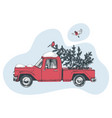 hand drawn card with red truck and christmas tree vector image vector image