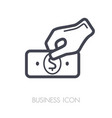hand holding money or money in hand outline icon vector image