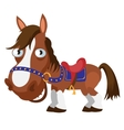 Harnessed brown horse cartoon image isolated vector image vector image