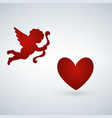 heart with cupid on a white background cupid vector image