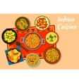 Indian cuisine spicy dishes for lunch menu design vector image vector image