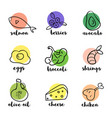 ketogenic diet hand drawn doodle icons healthy vector image vector image