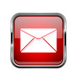 mail or message icon square red 3d icon with vector image
