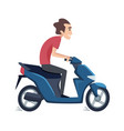 man ride on scooter male drives motorbike vector image vector image