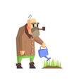 Man Watering The Grass vector image vector image