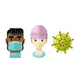 medical professionals and a virus icon set 3 vector image vector image