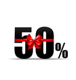 Number 50 percent for discount and sale with red vector image vector image