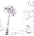 palm tree on sandy beach shore and cloud vector image