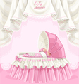 Pink baby shower card with little baby in the crib vector image vector image