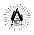pizza in fire with beams logo icon vector image