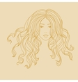 portrait of a girl with long curly hair vector image vector image